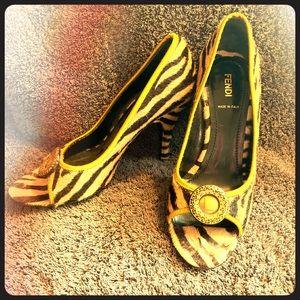 FENDI tiger print heels size 8 slightly worn